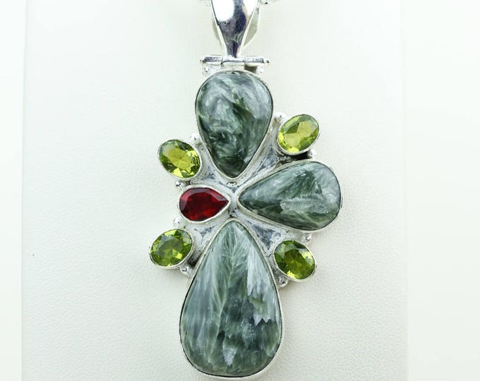 Seraphinite Combined with Blue Topaz 925 S0LID Sterling Silver Pendant + 4MM Snake Chain & Worldwide Shipping p4086