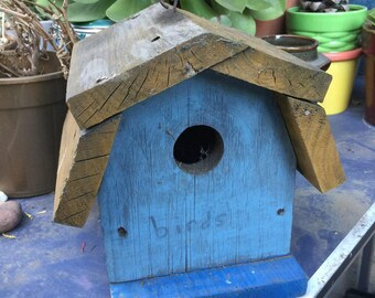 Shabby Chic Cottage Bird House Garden Art Blue