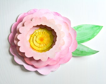 3D Watercolour wall flower painting cut paper collage art