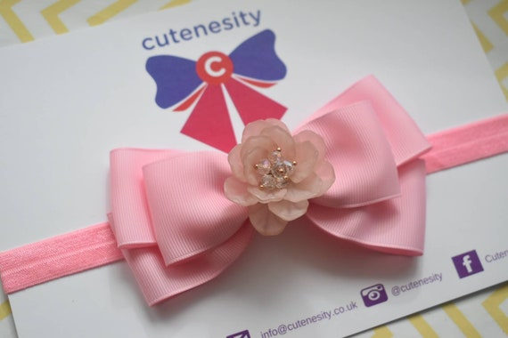 Pink Grosgrain Ribbon Bow with flower rhinestone - Baby / Toddler / Girls / Kids Headband / Hairband / Hair bow / Barette / Hairclip