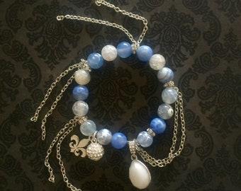 Blue/White & Silver Charm Bracelet