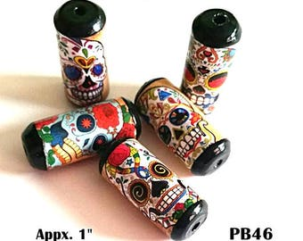 Unique Skull Beads -  Handmade Paper Tube Beads - - Set/5 -  PB46