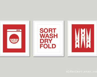 Laundry Art Prints  - Set of 3 Prints - Laundry Room Wall Art - Laundry Decor - Modern Home Decor - Wash Dry Fold - Red and White