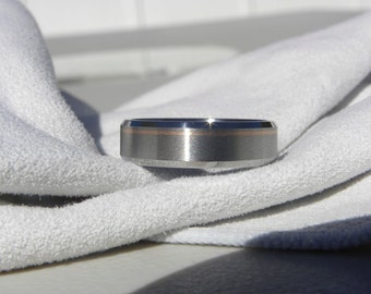 Titanium Ring with Beveled Edges and Rose Gold Offset Pinstripe Inlay, Wedding Band