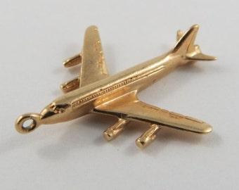 Jumbo Jet 10K Gold Vintage Charm For Bracelet