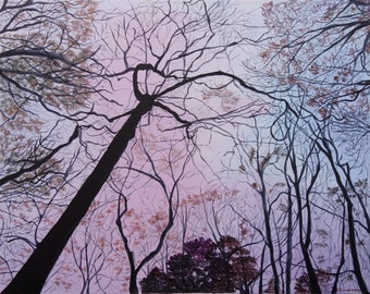 """LOOKING UP - Original Acrylic Painting on Canvas 16"""" x 20"""". Landscape Paintings, Wall Art, Canvas Art, Landscapes, Canvas Paintings, Forest"""