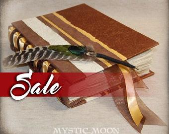 SALE / Golden Earth / XL Handmade Journal / Book of Shadows Journal / Quill Pen / Feather Pen /  Writing Journal / Personalized Journal