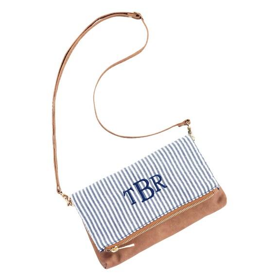 FREE MONOGRAM Crossbody Purse, Wristlet, Monogramed purse, wristlet, Bride, Bridesmaid, Gift, Multifunctional purse, Seersucker Purse