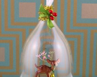 Handmade small cloche/diorama, sweet deer in garden, ornament.