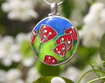 Red poppy flower necklace Nature handmade pendant Flower jewellery Cloisonne enamel sterling silver pendant Gift for her One of a kind