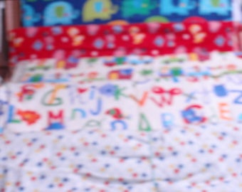 """Rockaby Flannel  Alphabet, Elephant, Transport, Hearts, Dots 100% Cotton Fabric 44"""" Wide Sold by the Yard"""