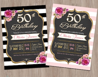 50th Birthday Invitation for Women Fifty and Fabulous Birthday