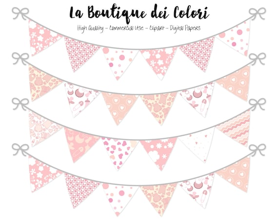 Baby Girl Bunting Banners Party Flags Clipart Cute