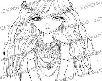Digital Stamp Ethnic Necklaces Girl, Digi Digistamp, Hippie Nature Fairy, Floral Fantasy, Big Eye Art, Colouring Page, Instant download
