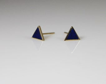 14K solid gold lapis earrings,14K lapis Stud Earrings,14K dainty Earrings,14k minimalist stud, triangle stud, royal blue stud, 14k geometric