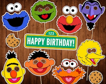 Printable Photo Booth Props - INSTANT DOWNLOAD - Cookie Monster - Bert and Ernie - Oscar the Grouch - Big Bird - Monster Party Supplies