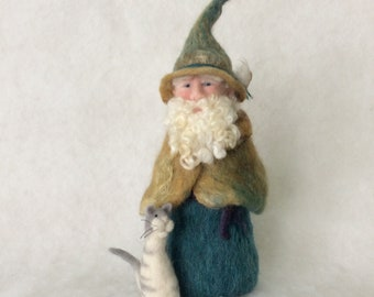 Large Needle Felt Wool Gnome With An Adoring Cat One  Of A Kind Soft Sculpture