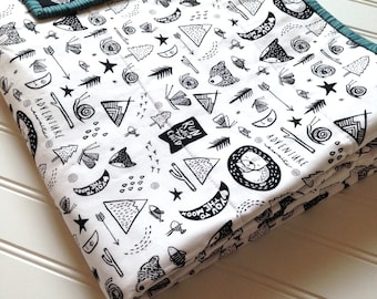 Adventure Quilt - Black and White Modern Quilt - crib - blanket - gender neutral - wholecloth forest outdoors woodland wild baby boy