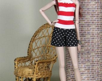 Fashion Doll Neckholder Top - gestreift - 11 Farben zur Auswahl