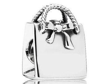 Genuine 925 Sterling Silver Purse Handbag Charm, fits Pandora Charm Bracelet, Jewelry For Women, Charity Donation