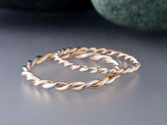 14k Gold Rope Twist Wedding Ring Set 16mm and 2mm Wide Two