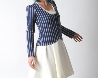 Striped fitted jacket, Blue and white jersey jacket with long sleeves, Nautical jacket, Womens clothing, Womens jackets,, YOUR SIZE, MALAM