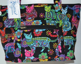 Quilted Fabric Beautiful Coloring Cat Purse Handbag