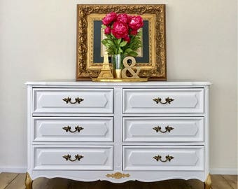 SOLD - Gold Dipped French Provincial Dresser White and Gold