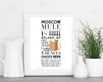 Moscow Mule Cocktail - PRINTABLE Wall Art / Cocktail Recipe Wall Art / Mixed Drink with Recipes Printable Wall Art / Cocktail Wall Art