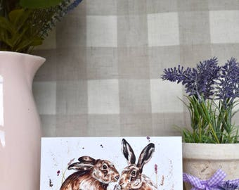 Spring hares greeting card