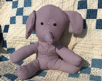 Stuffed 12 inch burgandy and white striped elephant
