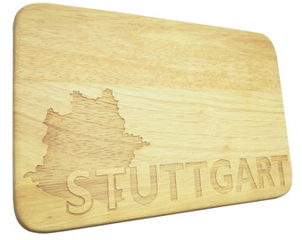Brotbrett Stuttgart Breakfast Board engraving Wood-Breakfast Board-engrave