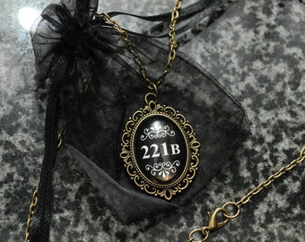 Sherlock 221B necklace cameo – BBC Sherlock fandom cosplay jewellery / jewelry