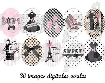 Paris 30x40mm Oval Digital Collage Sheet 18 x 25 mm Printable Images for Pendants, Cameos, Bezel Settings, Cabochon, Vintage Printables