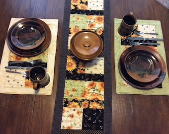 handmade sunflower and bee table runner and placemats