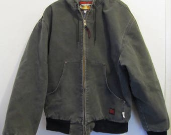 A Men's Vintage 90's,HOODED Green Canvas W0RK Jacket By TOUGH DUCK of Canada.L