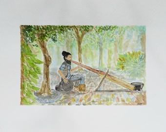 Didgeridoo Man (Original Watercolor)