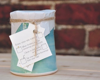 Hand poured Soy Candles in Handmade Ceramic Cup