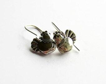 Silver Chicken Earrings - Hen Earrings - Chicken Jewellery - Chicken Lover Gift - Chicken Gifts for Mothers Day - Bird Earrings