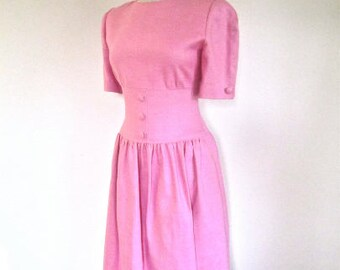 M 80s William Pearson Linen Dress from I Magnin Designer Pretty In Pink Day Party Medium