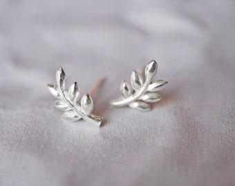 925 Silver Olive Branches Post Stud Earring, Leaf Stud Earrings, Silver Branch Jewelry, Twig Jewelry, Small Leaf Earring,symbolic TSTSM027