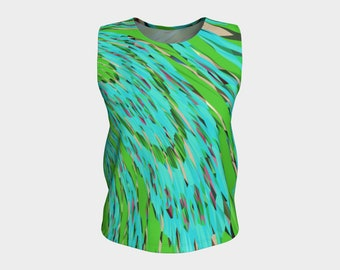 Tropical Jungle - Loose fit tank top, athletic tank top, workout top, dance wear, yoga top, runner's top