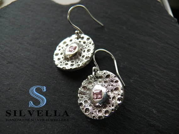 Silver Sea Urchin Textured Earrings with Pink c/z