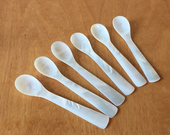 Mother of Pearl - Carved Shell Spoons - Set of 6