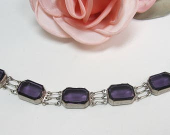 "Antique vintage purple rhinestone link bracelet 7"""