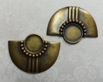 """Vintage gold plate brass stamped bib design blanks,1&1/2"""",2pcs-KC284"""