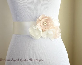 Blush Champagne and Ivory Bridal Sash, Blush Wedding Sash, Blush Wedding Belt
