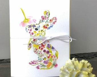 Bunny Card, Floral rabbit, watercolor card, baby card