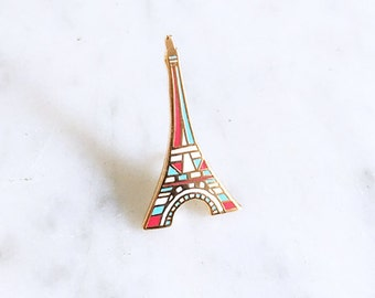 eiffel tower enamel lapel pin, gold enamel pin, pins, broche