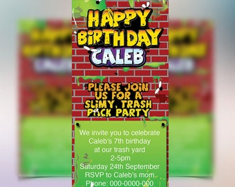 Trash Pack Party invitations customised for your party, along with our variety of party printables that make up a full printables package.